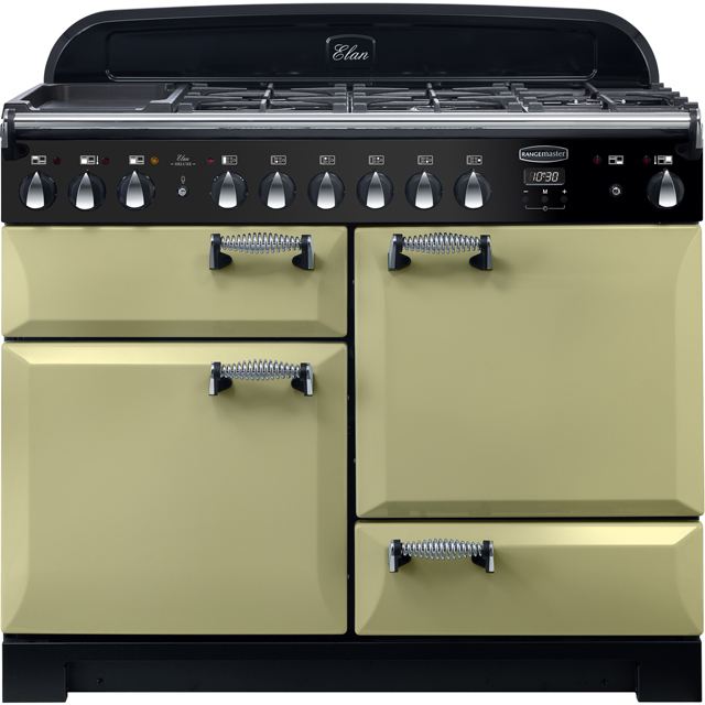 Rangemaster Elan Deluxe 110cm Dual Fuel Range Cooker - Olive Green - A/A Rated