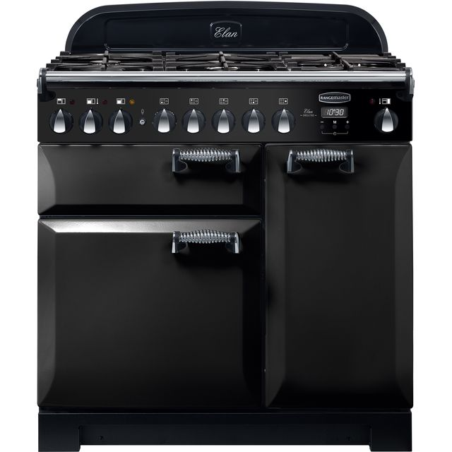 Rangemaster Elan Deluxe 90cm Dual Fuel Range Cooker - Black - A/A Rated
