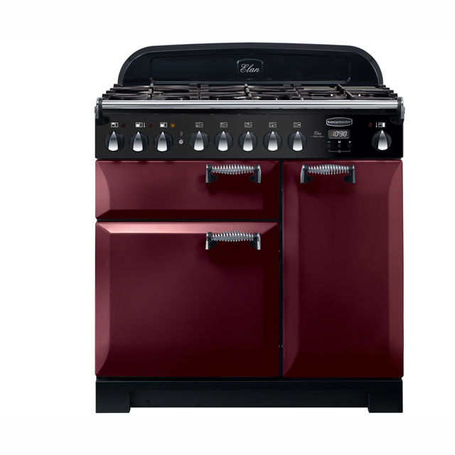 Rangemaster Elan Deluxe 90cm Dual Fuel Range Cooker - Cranberry - A/A Rated