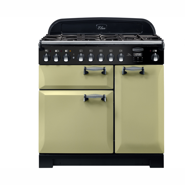 Rangemaster Elan Deluxe 90cm Dual Fuel Range Cooker - Olive Green - A/A Rated