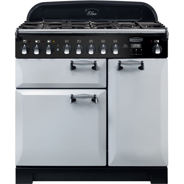 Rangemaster Elan Deluxe 90cm Dual Fuel Range Cooker - Royal Pearl - A/A Rated