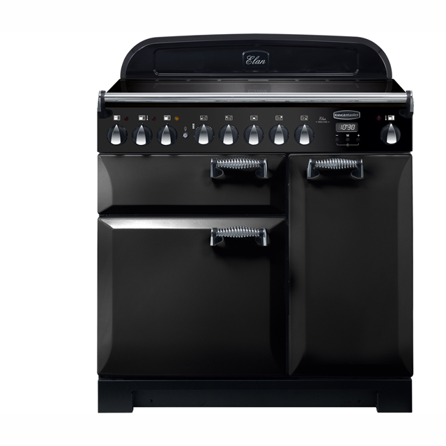 Rangemaster Elan Deluxe 90cm Electric Range Cooker with Induction Hob - Black - A/A Rated