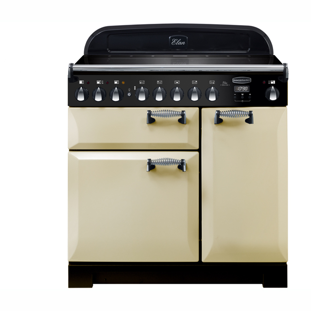 Rangemaster Elan Deluxe 90cm Electric Range Cooker with Induction Hob - Cream - A/A Rated