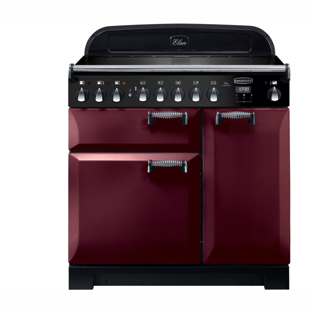 Rangemaster Elan Deluxe 90cm Electric Range Cooker with Induction Hob - Cranberry - A/A Rated