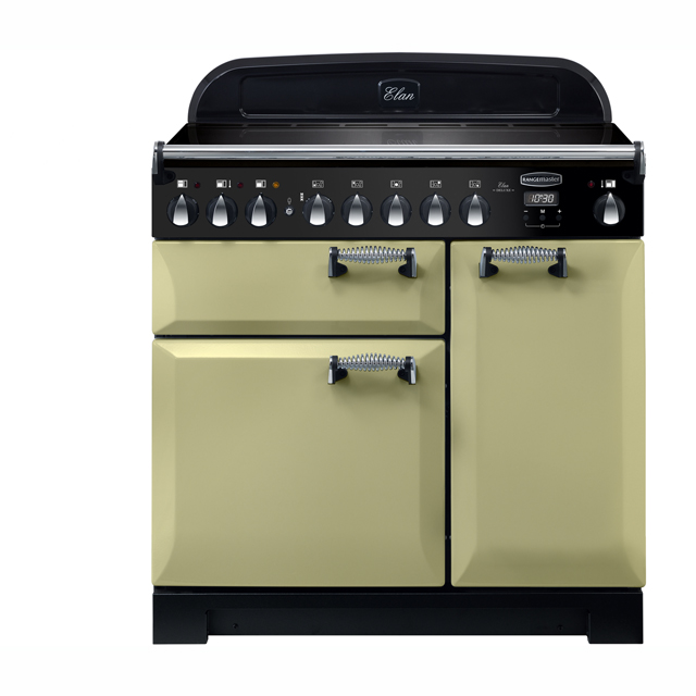 Rangemaster Elan Deluxe 90cm Electric Range Cooker with Induction Hob - Olive Green - A/A Rated