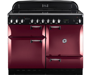 Rangemaster Elan 110cm Electric Range Cooker with Ceramic Hob - Cranberry / Chrome - A Rated