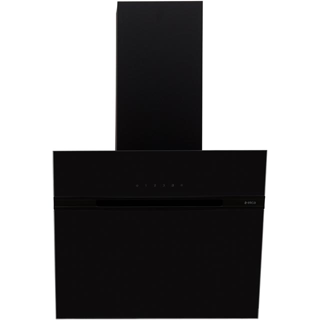 Elica ASC-LED-60BLK 59 cm Angled Chimney Cooker Hood - Black Glass - B Rated