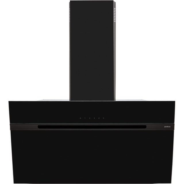Elica ASC-LED-90BLK 90 cm Angled Chimney Cooker Hood - Black Glass - B Rated