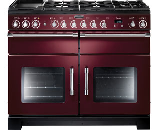 Rangemaster Excel 110cm Dual Fuel Range Cooker - Cranberry / Chrome - A Rated