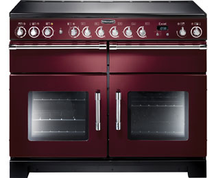 Rangemaster Excel 110cm Electric Range Cooker with Ceramic Hob - Cranberry / Chrome - A Rated