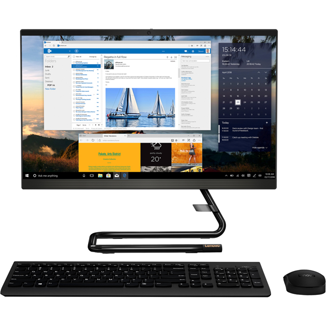 "Lenovo IdeaCentre A340-24IWL 23.8"" All In One - Black - F0E8009QUK - 1"