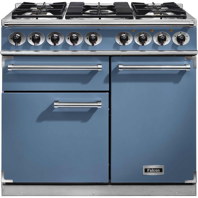 Falcon 1000 DELUXE F1000DXDFCA/NM 100cm Dual Fuel Range Cooker - China Blue - A/A Rated - F1000DXDFCA/NM_CHB - 1