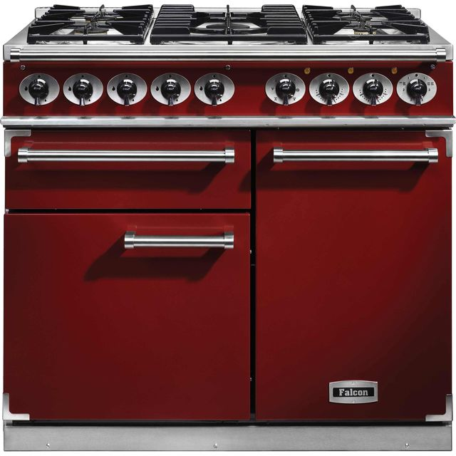 Falcon 1000 DELUXE F1000DXDFRD/NM 100cm Dual Fuel Range Cooker - Cherry Red - A/A Rated - F1000DXDFRD/NM_CHE - 1