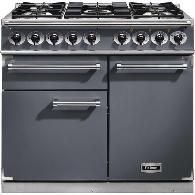 Falcon 1000 DELUXE F1000DXDFSL/NM 100cm Dual Fuel Range Cooker - Slate - A/A Rated - F1000DXDFSL/NM_SL - 1