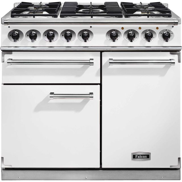 Falcon 1000 DELUXE F1000DXDFWH/NM 100cm Dual Fuel Range Cooker - White - A/A Rated - F1000DXDFWH/NM_WH - 1