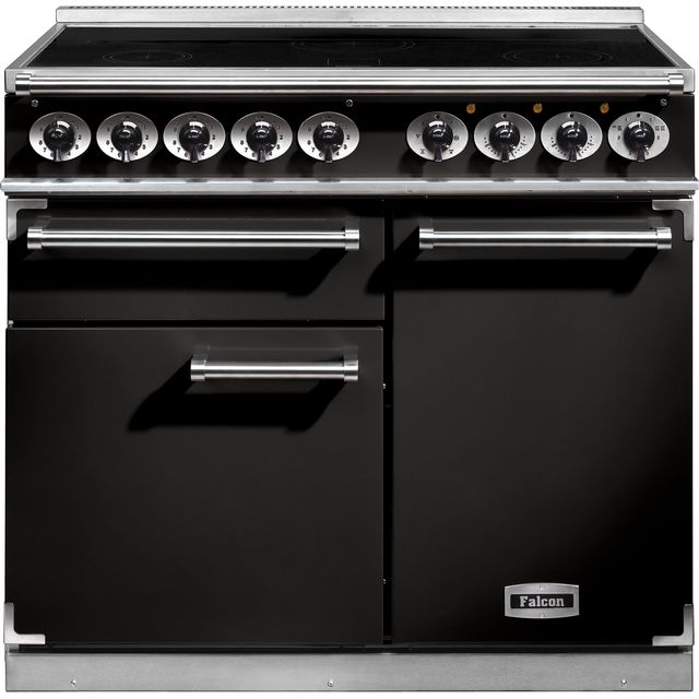 Falcon 1000 DELUXE 100cm Electric Range Cooker with Induction Hob - Black - A/A Rated