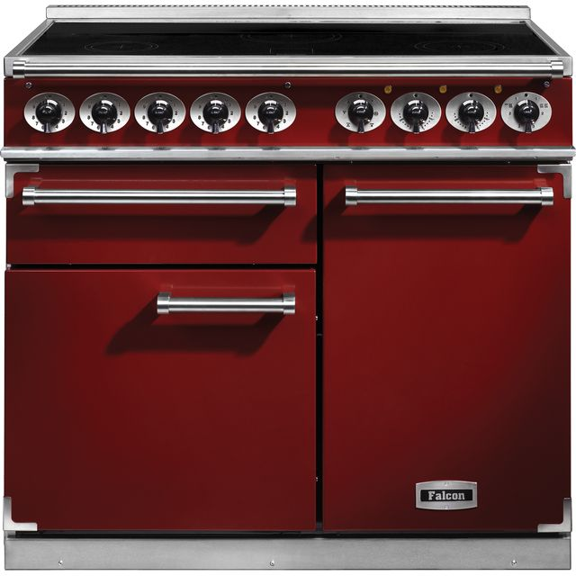 Falcon 1000 DELUXE F1000DXEIRD/N 100cm Electric Range Cooker with Induction Hob - Cherry Red - A/A Rated - F1000DXEIRD/N_CHE - 1