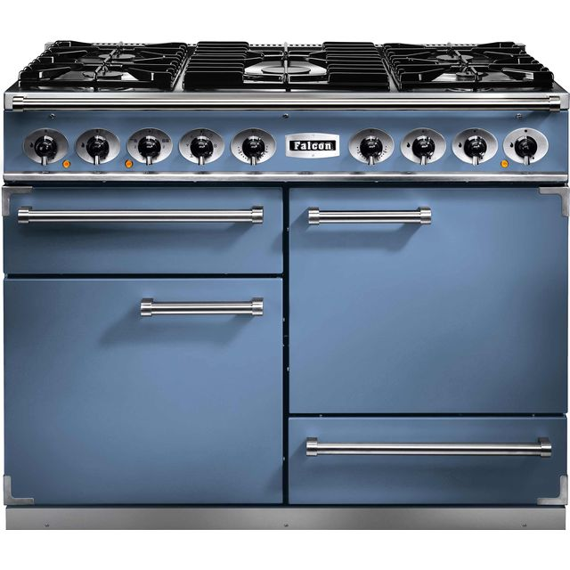 Falcon 1092 DELUXE F1092DXDFCA/NM 110cm Dual Fuel Range Cooker - China Blue - A/A Rated - F1092DXDFCA/NM_CHB - 1