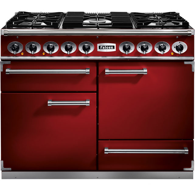 Falcon 1092 DELUXE F1092DXDFRD/NM 110cm Dual Fuel Range Cooker - Cherry Red - A/A Rated - F1092DXDFRD/NM_CHE - 1