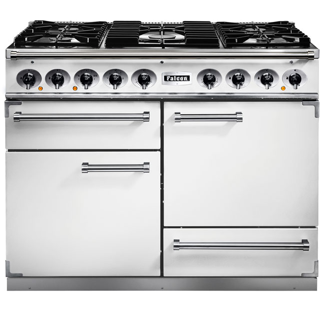 Falcon 1092 DELUXE F1092DXDFWH/NM 110cm Dual Fuel Range Cooker - White - A/A Rated