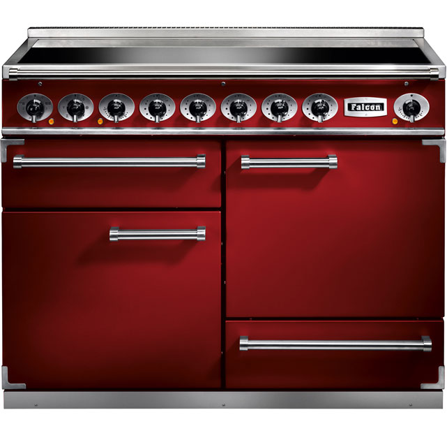 Falcon 1092 DELUXE F1092DXEIRD/N 110cm Electric Range Cooker with Induction Hob - Cherry Red - A/A Rated - F1092DXEIRD/N_CHE - 1