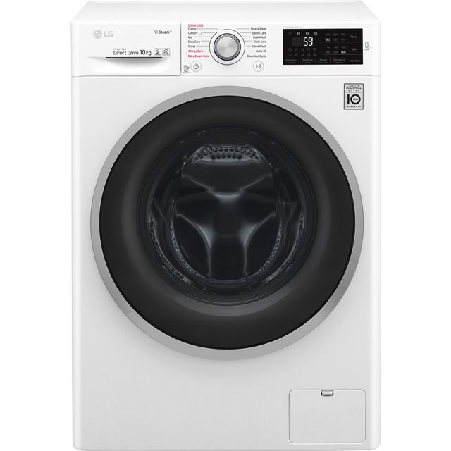 LG J6 F4J610WS 10Kg Washing Machine with 1400 rpm - White - A+++ Rated - F4J610WS_WH - 1