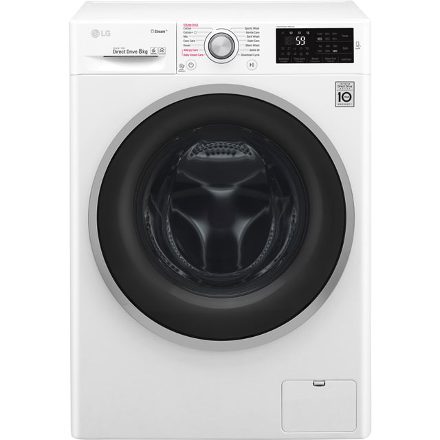 LG Steam™ F4J6TY1W 8Kg Washing Machine with 1400 rpm - White - A+++ Rated - F4J6TY1W_WH - 1