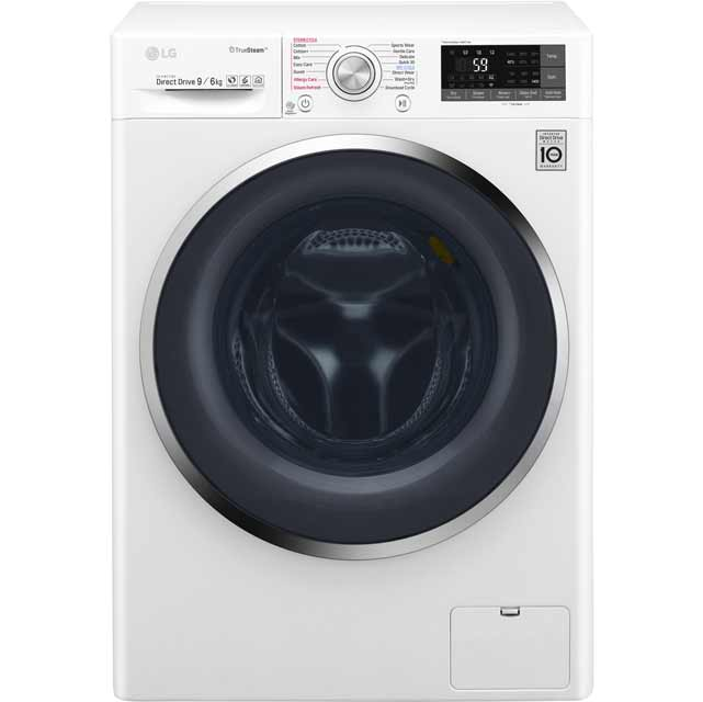 LG Eco Hybrid™ With TrueSteam™ F4J8FH2W Wifi Connected 9Kg / 6Kg Washer Dryer with 1400 rpm - White - A Rated