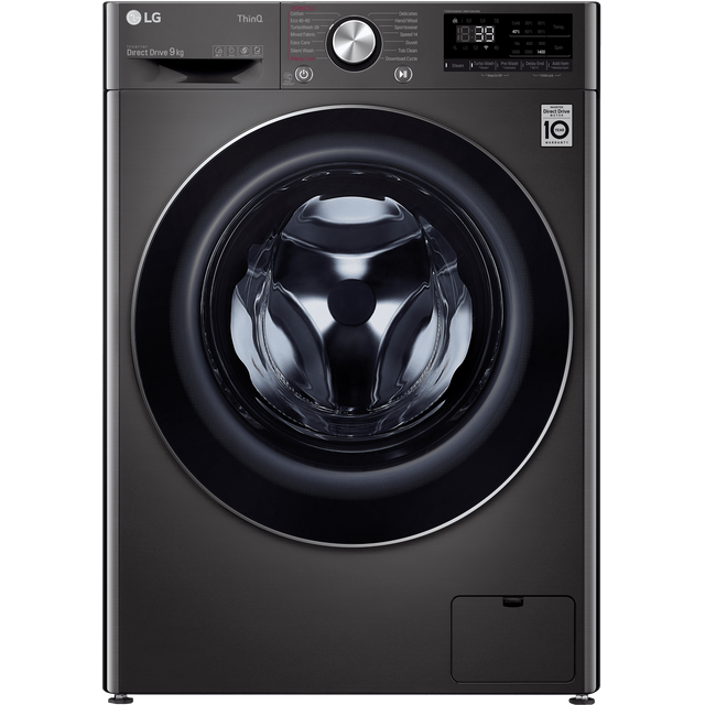 LG V9 F4V909BTSE Wifi Connected 9Kg Washing Machine with 1400 rpm - Steel Black - A+++ Rated