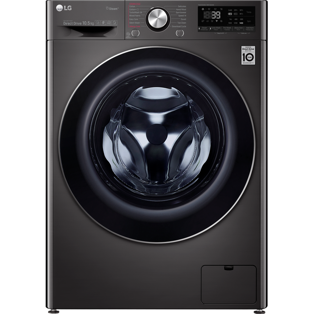 LG V9 F4V910BTS Wifi Connected 10.5Kg Washing Machine with 1400 rpm - Black Steel - A+++ Rated - F4V910BTS_BSS - 1