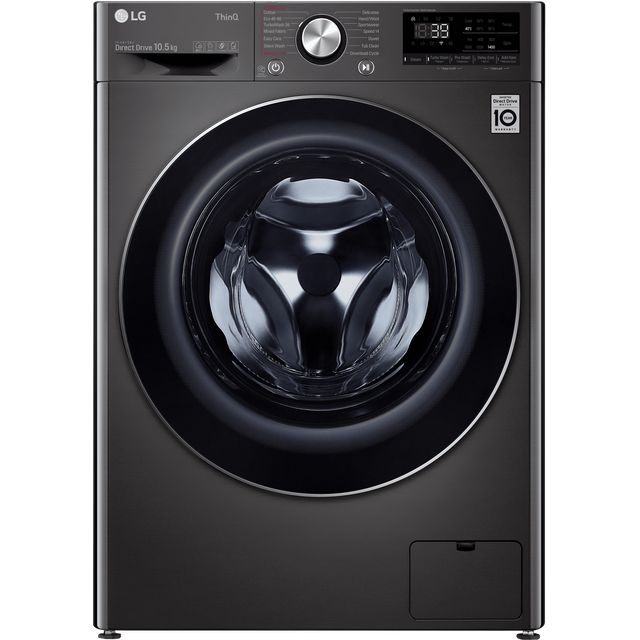 LG V9 F4V910BTSE Wifi Connected 10.5Kg Washing Machine with 1400 rpm - Steel Black - A+++ Rated - F4V910BTSE_BST - 1