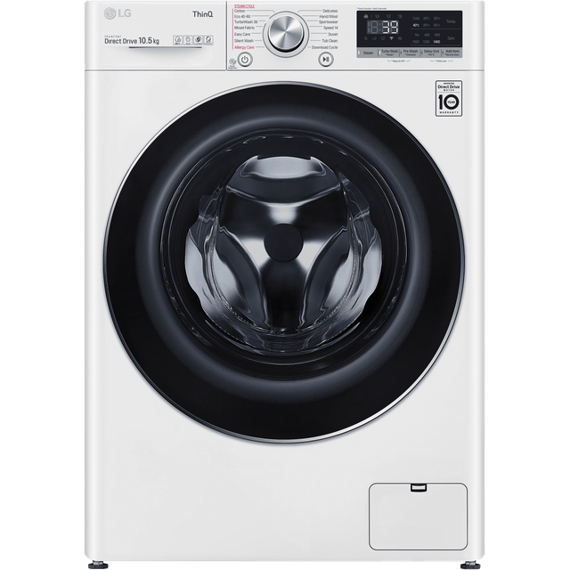 LG V9 F4V910WTSE Wifi Connected 10.5Kg Washing Machine with 1400 rpm - White - A+++ Rated - F4V910WTSE_WH - 1