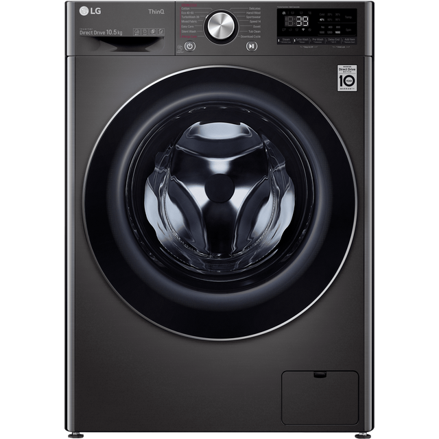 LG V10 F6V1010BTSE Wifi Connected 10.5Kg Washing Machine with 1600 rpm - Black / Stainless Steel - A