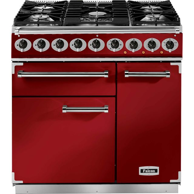 Falcon 900 DELUXE F900DXDFRD/NM 90cm Dual Fuel Range Cooker - Cherry Red - A/A Rated - F900DXDFRD/NM_CHE - 1