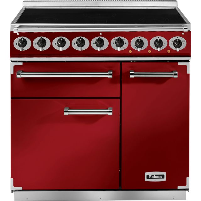 Falcon 900 DELUXE F900DXEIRD/N 90cm Electric Range Cooker with Induction Hob - Cherry Red - A/A Rated - F900DXEIRD/N_CHE - 1