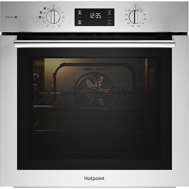 Hotpoint ActiveCook FA4S544IXH Built In Electric Single Oven with added Steam Function - Stainless Steel - A Rated - FA4S544IXH_SS - 1