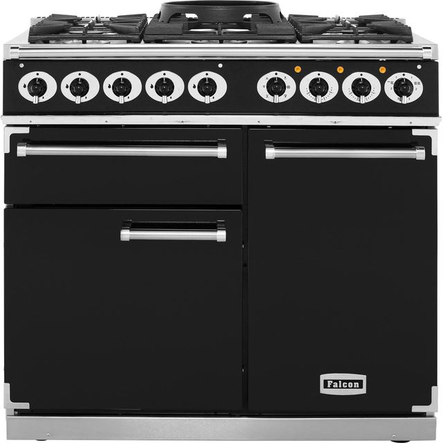 Falcon 1000 DELUXE F1000DXDFBL/CM Free Standing Range Cooker in Black