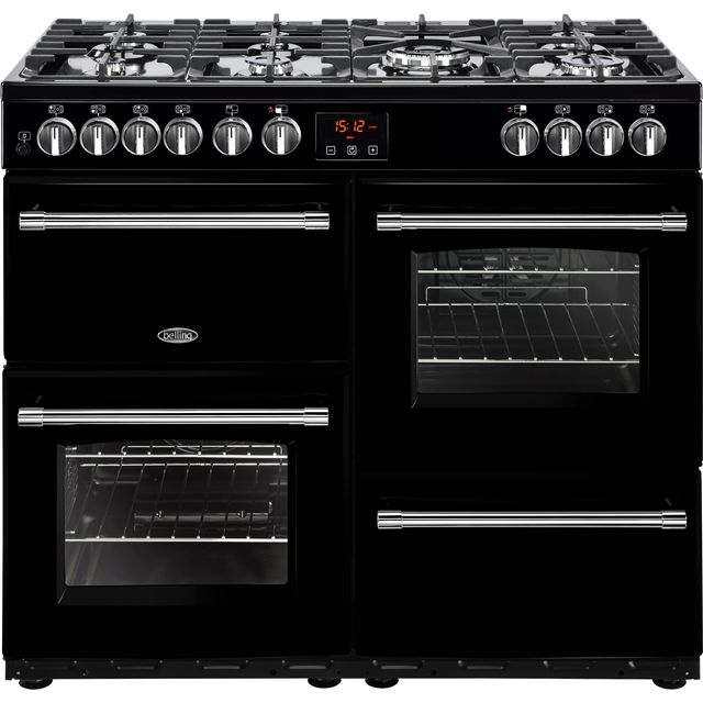 Belling Farmhouse100DF 100cm Dual Fuel Range Cooker - Black - A/A Rated - Farmhouse100DF_BK - 1