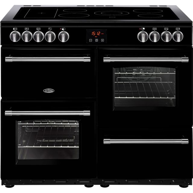 Belling Farmhouse100E 100cm Electric Range Cooker with Ceramic Hob - Black - A/A Rated - Farmhouse100E_BK - 1