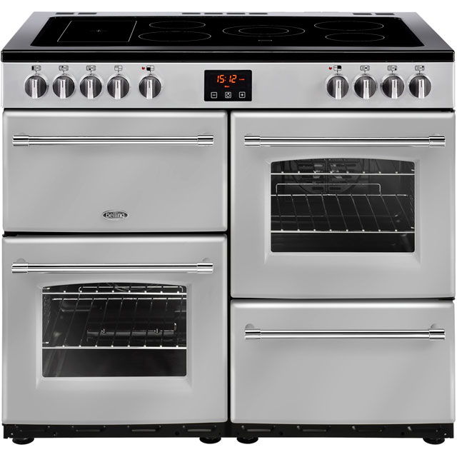 Belling Farmhouse100E 100cm Electric Range Cooker with Ceramic Hob - Silver - A/A Rated - Farmhouse100E_SI - 1