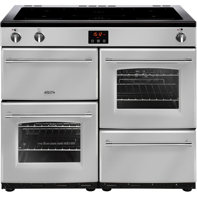 Belling Farmhouse100Ei 100cm Electric Range Cooker with Induction Hob - Silver - A/A Rated