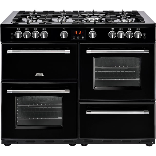 Belling 110cm Dual Fuel Range Cooker - Black - A/A Rated