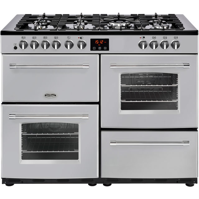 Belling Farmhouse110DF 110cm Dual Fuel Range Cooker - Silver - A/A Rated - Farmhouse110DF_SI - 1