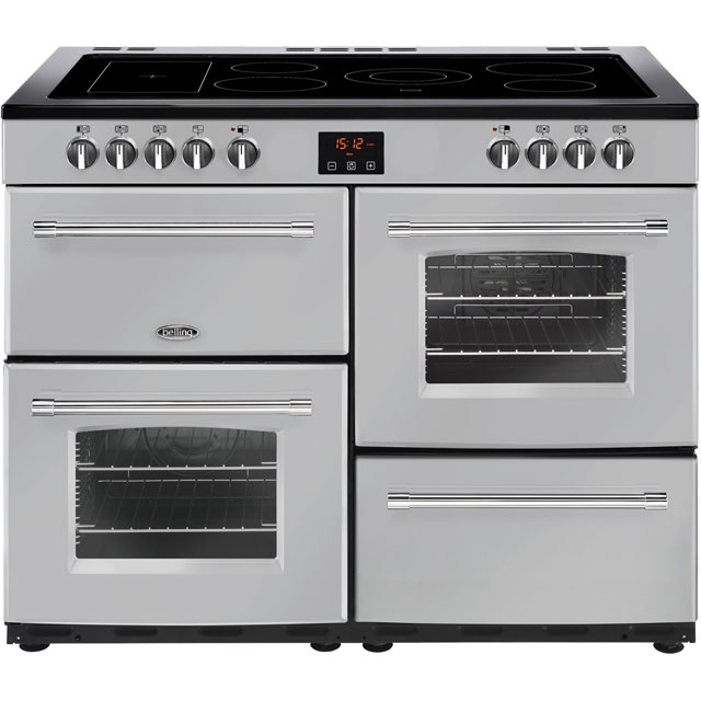 Belling Farmhouse110E 110cm Electric Range Cooker with Ceramic Hob - Silver - A/A Rated - Farmhouse110E_SI - 1