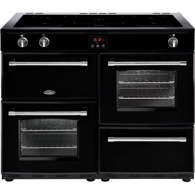 Belling Farmhouse110Ei 110cm Electric Range Cooker with Induction Hob - Black - A/A Rated - Farmhouse110Ei_BK - 1