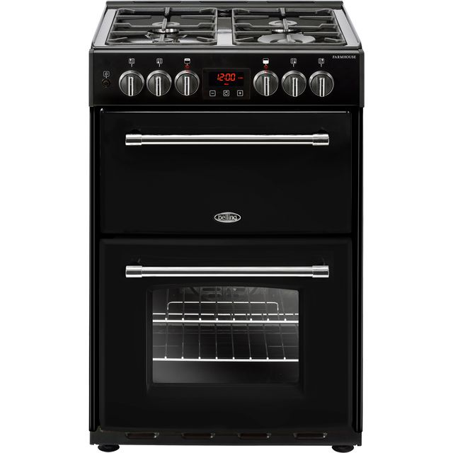 Belling Farmhouse60DF 60cm Dual Fuel Cooker - Black - A/A Rated - Farmhouse60DF_BK - 1