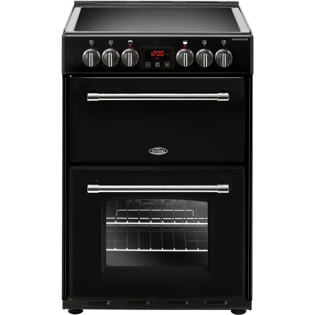 Belling Farmhouse60E 60cm Electric Cooker with Ceramic Hob - Black - A/A Rated - Farmhouse60E_BK - 1