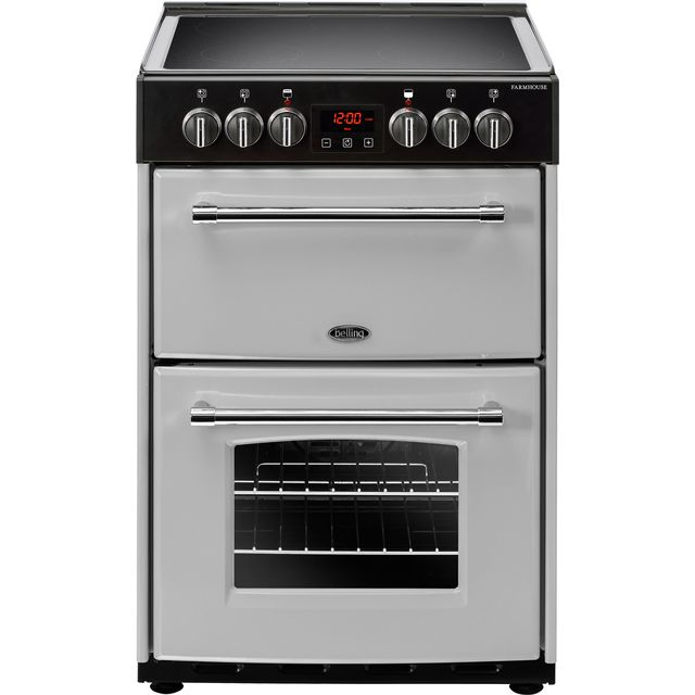 Belling Farmhouse60E 60cm Electric Cooker with Ceramic Hob - Silver - A/A Rated - Farmhouse60E_SI - 1