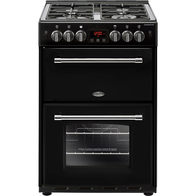 Belling Farmhouse60G 60cm Gas Cooker with Full Width Electric Grill - Black - A/B Rated
