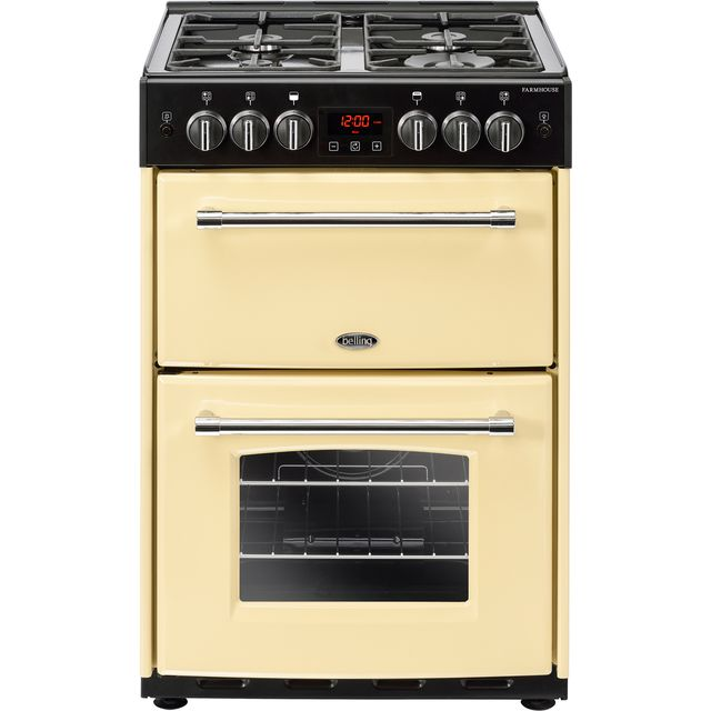 Belling Farmhouse60G 60cm Gas Cooker with Full Width Electric Grill - Cream - A+/A Rated - Farmhouse60G_CR - 1